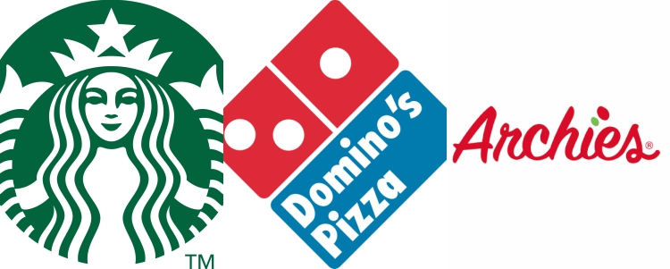 Domino´s, Archies, Starbucks y P.F Chang